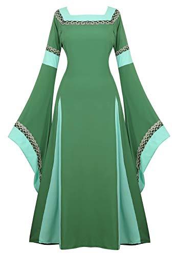 Medieval Dress Renaissance Costume Gown Irish Over Deluxe Victorian Vintage Cosplay Women Green S]()