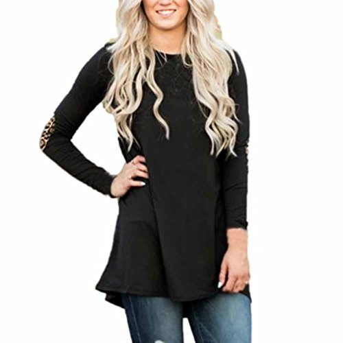 Misaky Women's Long Sleeve Loose shirts for leggings oversized Long Pullover Tops Blouse (S, Black)