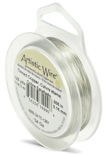 - Beadalon Artistic Wire 34-Gauge Tinned Copper Wire, 125-Yards