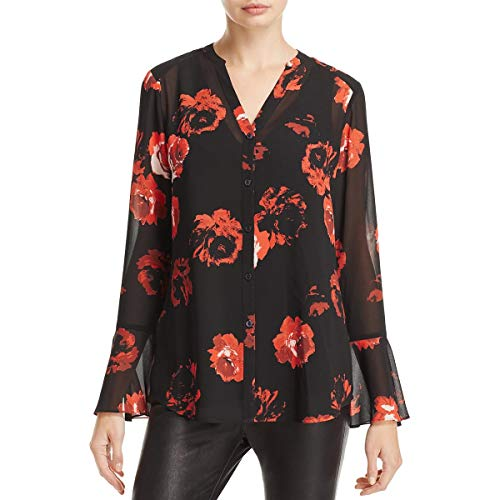Foxcroft Women's Long Sleeve Ali Rose Print Chiffon Blouse, Scarlet -