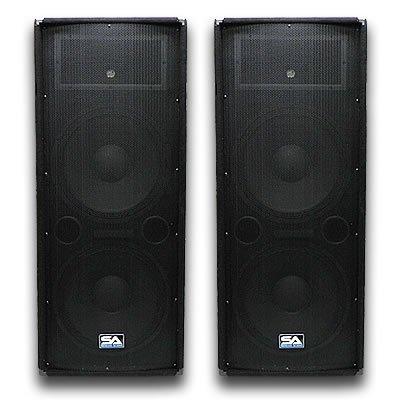 Seismic Audio - Pair of Dual 15'' PA DJ SPEAKERS 1400 Watts PRO AUDIO - Band, Bar, Wedding, Church, Karaoke