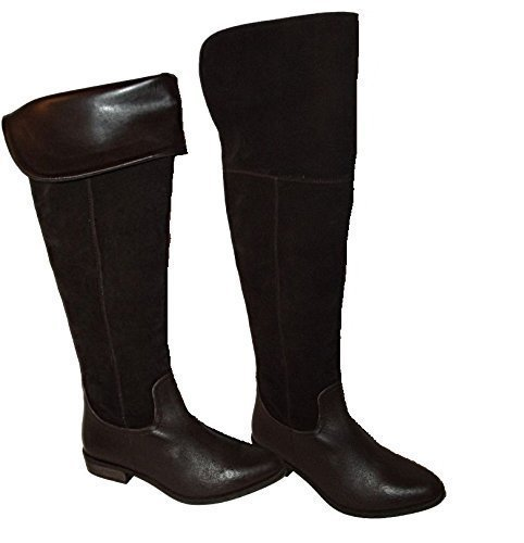 NEW EX STORE KNOCK KNOCK BROWN LEATHER SUEDE OVER THE KNEE THIGH HIGH PIRATE BOOTS (UK 5)