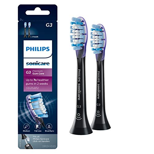 Genuine Philips Sonicare Premium Gum Care Replacement Toothbrush Heads, Black 2-pk