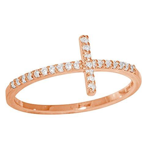K Gold Sideways Cross Ring