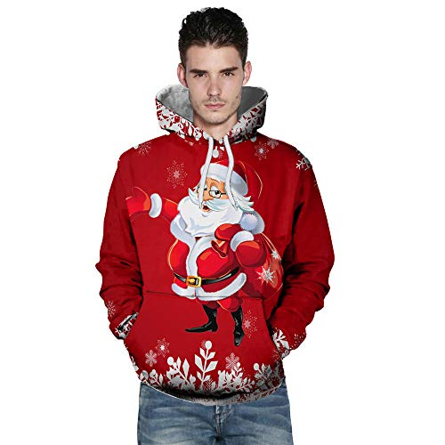 BHYDRY Lover Sweatshirt Casual Autumn Winter Christmas Printing Long Sleeve Hoodies Red-a