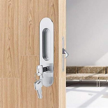 Aleación de zinc puerta corredera cerradura de madera Invisible puerta cerradura con 3 llaves muebles Hardware latch interior para armario de baño cocina balcón: Amazon.es: Hogar