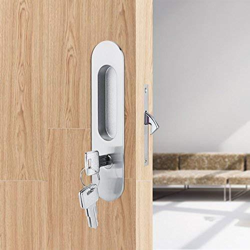Doors Sliding Bedroom - Fdit Zinc Alloy Sliding Door Locks Wooden Invisible Door Lock with 3 Keys Furniture Hardware Latch Indoor for Bathroom Closet Kitchen Balcony(Silver)