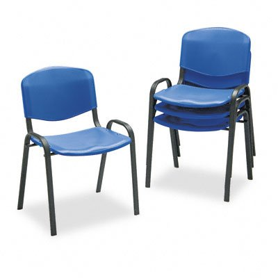 Safco Contour Stack Chair - SAFCO PRODUCTS 4185BU Contour Stacking Chairs, Blue w/Black Frame, 4/Carton