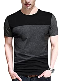 Men Soft Elasticity Classic Fit Block Stitch Crew Neck Long Sleeve Jersey T Shirt
