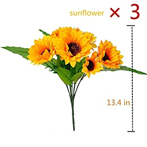 BEFINR Artificial Sunflower Forever Flowers Bunch Yellow Helianthus Green Leaves for Art Home Decoration Office Party Wedding 3 Pcs 109