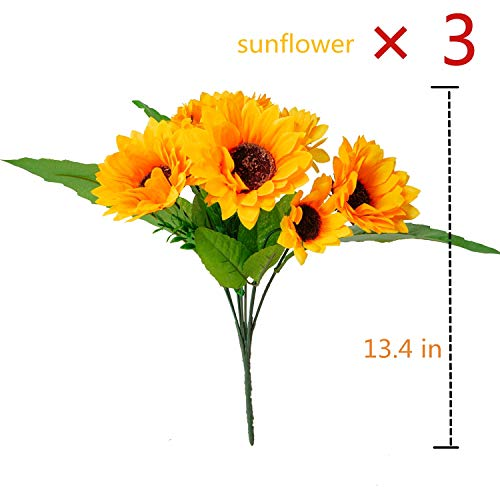 BEFINR Artificial Sunflower Forever Flowers Bunch Yellow Helianthus Green Leaves for Art Home Decoration Office Party Wedding 3 Pcs