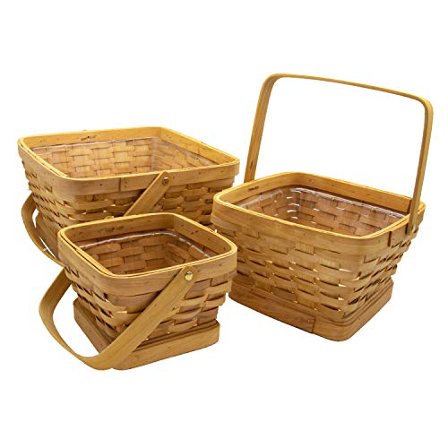 Royal Imports Picnic Gift Basket Wicker Chipwood Handwoven for Fruits, Flowers, Storage or Bread, with Folding Handles, Square, Set of 3, Natural ()