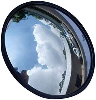 Geng カーブミラー 60CM凸面鏡、ラウンドブラック多機能盗難防止ロードミラー、セキュリティ監視信号トラフィックミラー