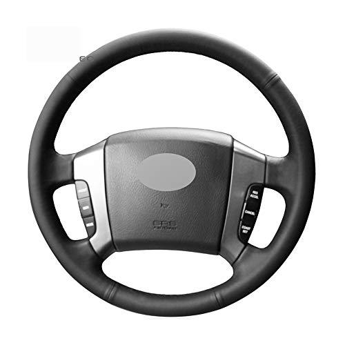 ZHOUMOFXP Black Artificial Leather DIY Hand-Stitched Car Steering Wheel Cover,for Kia Sorento 2003-2008 Old Sorento