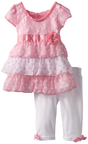 Little Lass Baby Girls' 2 Piece Capri Set with Flower Detail