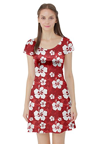 CowCow Red Pattern with Hibiscus Flowers on Red Short Sleeve Skater Dress, -