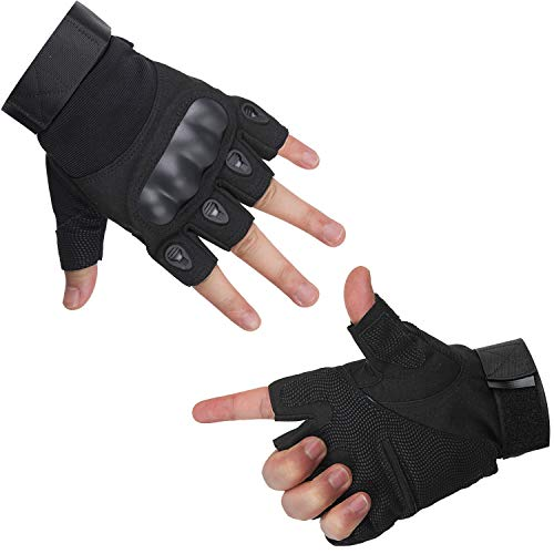Cycorld Working Gloves, Motorcycle Riding Gloves, Cycling Touch Screen Windproof Warmer Rubber Hard Knuckle Full Finger Gloves for Outdoor (Black Half Finger, M)