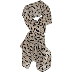 Modern Minute's Fashionable Feline Chiffon Feel Cat Scarf in Beige