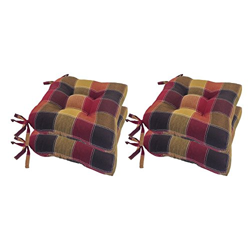 Essentials Harris Plaid Set of Four (4) Chair Pad Seat Cushions (Red) -Comfortable, Indoor, Dining Living Room, Kitchen, Office, Den, Washable, Fabric Ties, Spice, 4 Piece