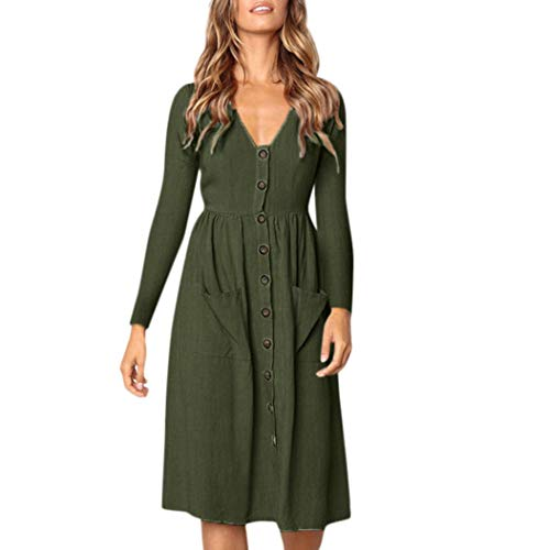 Neck Button Dress Long Sleeve Pocket Casual Beach Long Maxi Dress ()