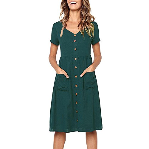 ZOLLOR Women's Upgrade Casual Openable Chest V Neck Short Sleeve Button Down Summer Beach Midi Dress with Pockets (XL, Dark Green) - Heel Button