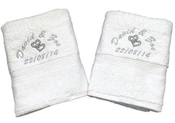 Personalizado Bordado Blanco Toalla De Mano Juego de regalo de boda - diseño de corazones: Amazon.es: Hogar