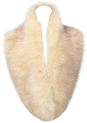 Changuan Extra Large Women's Faux Fur Collar Shawl Wraps Stole Cloak Evening Cape for Winter Coat Beige 125cm - Ladies Faux Fur Collar Coat