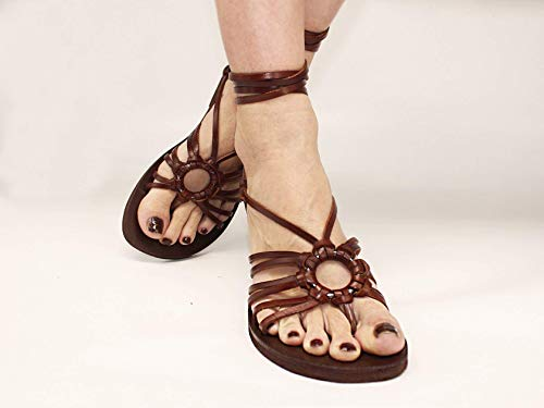 Strappy Flats, Unique Style Lace Up Sandals Made Of Genuine Leather and Silver Ring, Barefoot Tie Up Sandals - SPIDER
