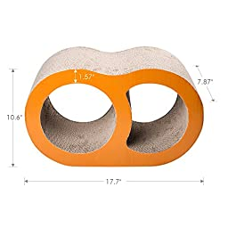 ELENKER Natural Cat Scratcher Lounge board with Catnip (Double hole-shaped)