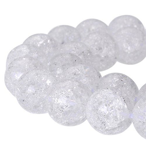 Clear Crackle - RUBYCA Round Crackle Druk Czech Crystal Pressed Glass Beads for Jewelry Making 10mm Strand (White)
