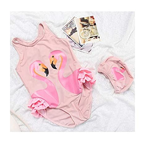 Traje de baño y gorro cisne y flamenco 6/7 años: Amazon.es: Bebé