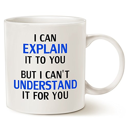 Funny Engineer Coffee Mug Christmas Gifts - I Can Explain It To You But I Cant Understand It For You - Best Engineering Gifts for Engineer Porcelain Cup White, 14 Oz by LaTazas