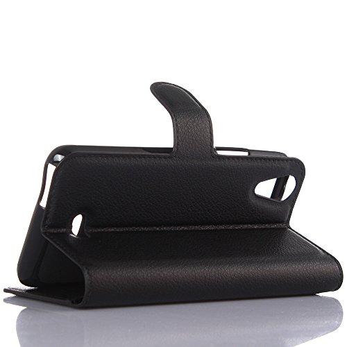 Coque WikoRainbowJam4G - EUGO Flip Housse Étui coque de protection en Luxe cuir pour WikoRainbowJam4G + 1 × Noir Stylet d'Ecran Tactile - Noir