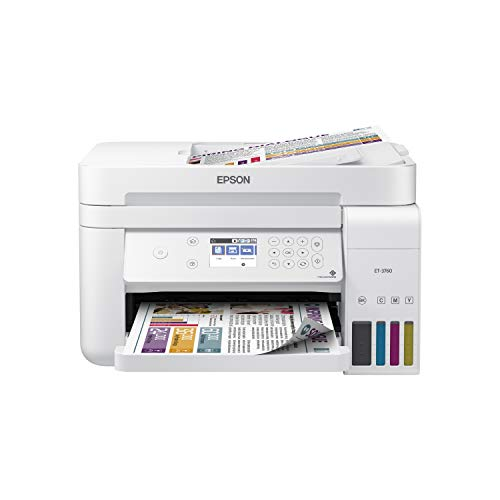 Epson EcoTank ET-3760 Wireless Color All-in-One Cartridge-Free Supertank Printer with Scanner, Copier, ADF and Ethernet (Small Printer Scanner Copier)