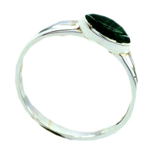 Jewelryonclick Genuine Malachite Sterling Silver Statement Rings For Women Gift Size 5,6,7,8,9,10,11,12 ()