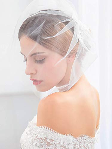 (Barogirl Bride Wedding Birdcage Veil Short White Lace Bridal Veil with Comb for Women)