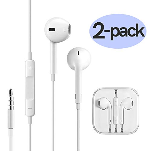 Wired Earbuds Stereo In-Ear Earphones for iphone 6 6s / 5 5s 5c / iPad iPod / Samsung,3.5mm Noise Cancelling Headphones with Microphone & Volume Control-2 PACK by FFHL