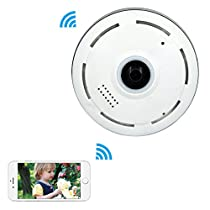 Mbangde 360° Fisheye Panoramic IP Camera, Wireless Wifi Security Camera Super Wide Angle Support IR Night Motion Detection Keep Your Pet & Home Safe, White