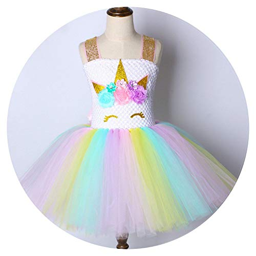 Children Girls Rainbow Princess Kids Dress Girls Christmas Costume 1-14,Only Dress,4T -