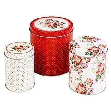 Set of 3 katie alice scarlet posy shabby chic nested storage tins (Dishes Shabby Chic)