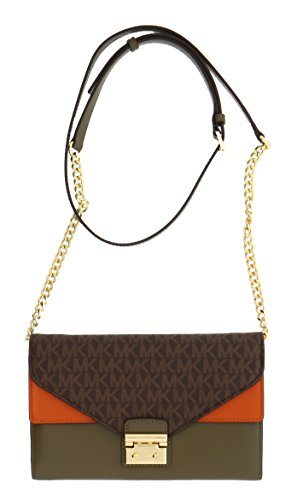 Michael Kors Sloan Large Envelope Wallet On A Chain Bicolor King Leather (Brn/olv/orng) by Michael Kors