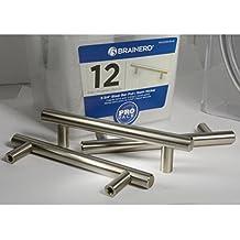 Brainerd 3-3/4 in. (96mm) Steel Bar Pull, Satin Nickel, 12 Pack - P01012W-SN-B