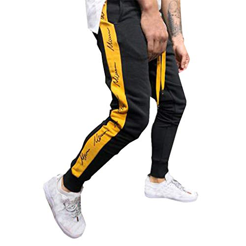 Toimothcn Men's Boys Light Weight Stretch Elastic-Waist Hip Hop Track Running Gym Pants (Yellow,S)