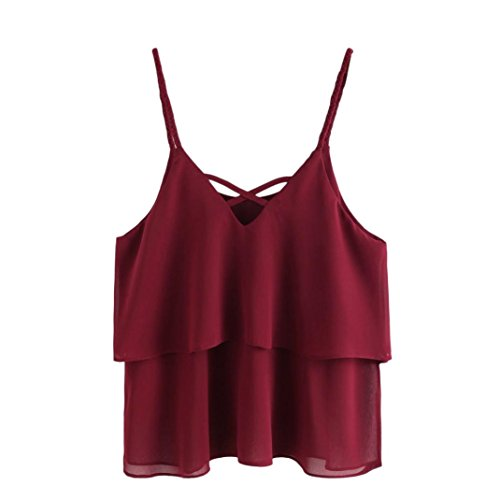 Wintialy Women Casual Chiffon Sleeveless Crop Top Vest Tank Shirt Blouse Cami Top Red Rose Leather Vest Fringe