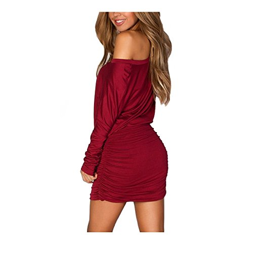 Anxihanee Women's One Shoulder Ruched Bat Long Sleeves Cocktail Party Club Bodycon Mini Dress (XL, Wine ()