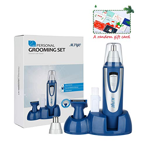Nose Hair Trimmer for Men Women – MIYO Professional Nose, Ear, Eyebrow Hair Trimmer Clipper, Waterproof Stainless Steel Blade, 3 in1 with Christmas Gift Card, Battery-Operated, Blue
