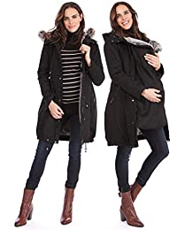 03cab80bfec Women s 3 in 1 Winter Maternity Parka Jacket Faux Fur Lined