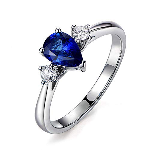 MoAndy Wedding Rings for Women Sterling Silver Jewelry Pear Cut Blue Sapphire with 2 Zircons Inlaid Size 7.5 - Silver Pear Place Card Holders