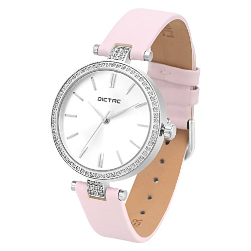 Dictac Women Lady Waterproof Analog Quartz Crystal Dial Clock Leather Wrist Watch