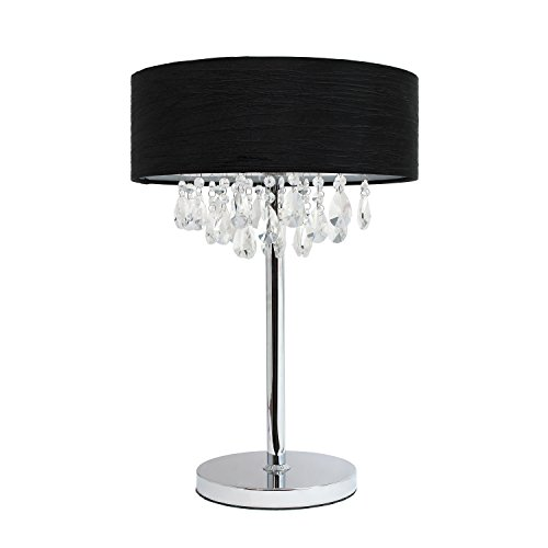 Elegant Designs Trendy Crystal Table Lamp with Solid Drum Sh